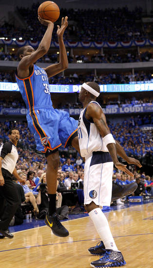 Oklahoma City's Kevin Durant (35) shoots the ball over Jason Terry (31) of Dallas during game 1 of the Western Conference Finals in the NBA basketball playoffs between the Dallas Mavericks and the Oklahoma City Thunder at American Airlines Center in Dallas, Tuesday, May 17, 2011. Photo by Bryan Terry, The Oklahoman