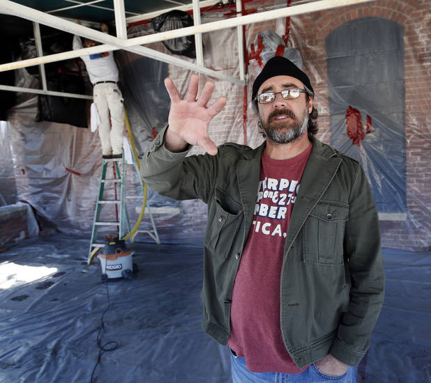 "Shannon Roper, the ""S"" in S&B Burger Joint, shows the patio room of a branch of his restaurant chain on Wednesday, Feb. 13, 2013 in Norman, Okla.  The site formerly housed Coach's Restaurant on Main Street.  Photo by Steve Sisney, The Oklahoman"