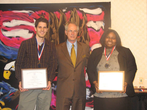 Pictured are Rose State College students Mason Long (left) and Tiffany Brown (right) with RSC President Dr. Terry Britton. Long and Brown were recently named to the 32 member All-Oklahoma Academic Team.<br/><b>Community Photo By:</b> Steve Reeves<br/><b>Submitted By:</b> Donna, Choctaw