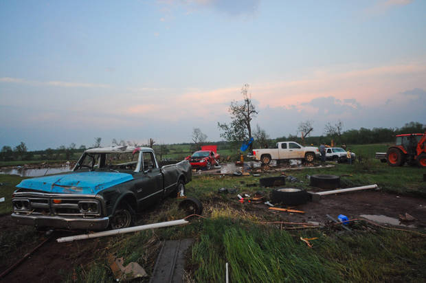 Only the front porch remained of Jodie Ortega's double wide home and shop building were destroyed after a tornado went through Carney, Okla. on May 19, 2013.  KT King/For the Oklahoman
