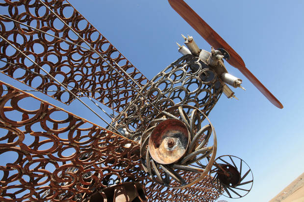 Joe Smith's biplane creation he made of horseshoes at his home near Leedey.  <strong>David McDaniel - The Oklahoman</strong>