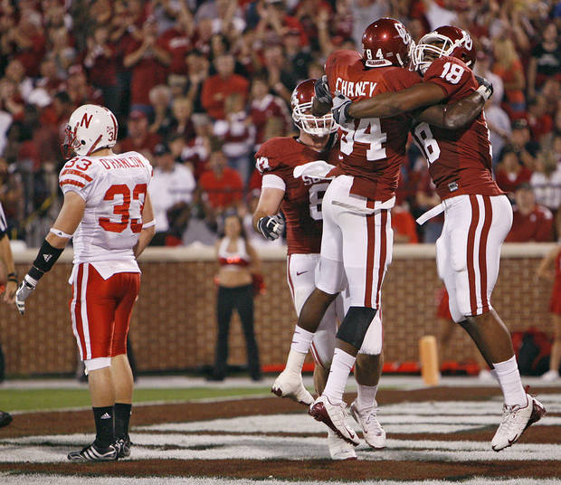 Oklahoma's Quentin Chaney (84) and Jermaine Gresham (18) celebrate after Chaney's touchdown during the first half of the college football game between the University of Oklahoma Sooners (OU) and the University of Nebraska Huskers (NU) at the Gaylord Family-Oklahoma Memorial Stadium, on Saturday, Nov. 1, 2008, in Norman, Okla. 