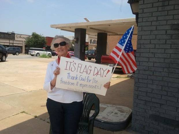 Bev Hanna of Edmond Republican Women celebrates Flag Day