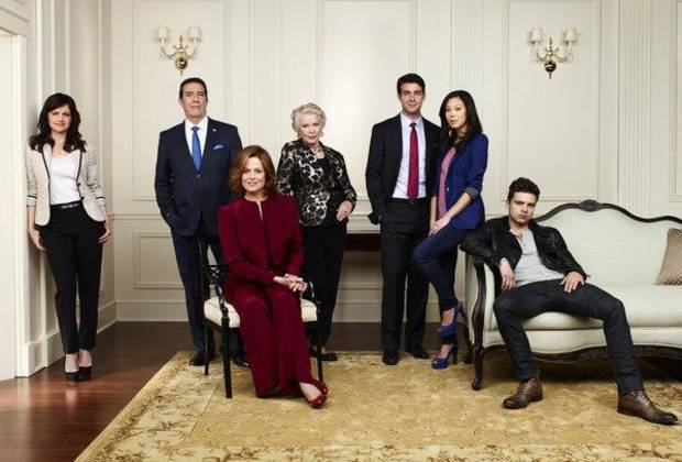 POLITICAL ANIMALS -- Season: 2012 -- Pictured: (l-r) Carla Gugino as Susan Berg, Ciaran Hinds as Bud Hammond, Sigourney Weaver as Elaine Barrish, Ellen Burstyn as Margaret, James Wolk as Doug Hammond, Brittany Ishibashi as Anne Ogami, Sebastian Stan as T.J. Hammond - USA Network Photo