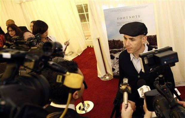 "Joseph Cedar, director of ""Footnote"" from Israel, is interviewed during the press availability for the Foreign Language Film Academy Award nominees in Los Angeles, Friday, Feb. 24, 2012. The 84th Academy Awards will be held on Sunday. (AP Photo/Matt Sayles)"