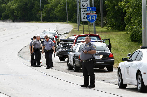 Eastbound lanes of Interstate 44 were closed temporarily Wednesday after a crash involving a patrol car. Photo by Jim Beckel, The Oklahoman. <strong>Jim Beckel - THE OKLAHOMAN</strong>