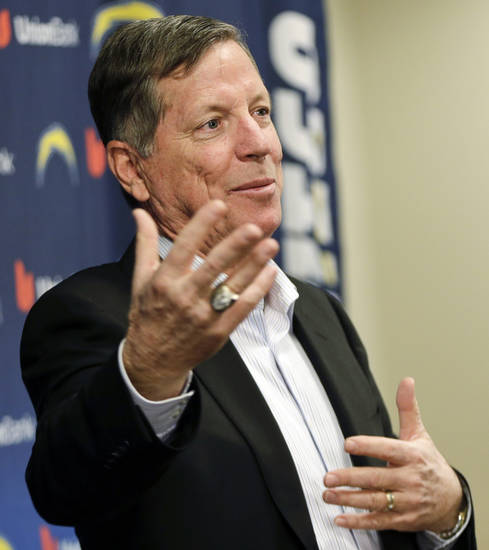 Norv Turner speaks during an NFL football news conference, Monday, Dec. 31, 2012, in San Diego. Turner was fired as head coach by the Chargers Monday, along with general manager A.J. Smith, after missing the playoffs for the third straight season. (AP Photo/Lenny Ignelzi)