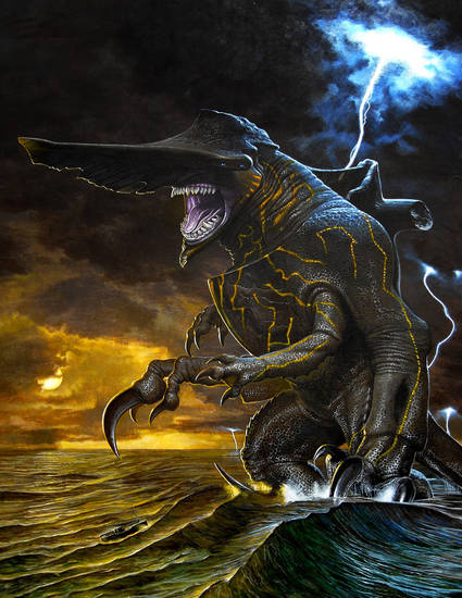 "This conceptual art image released by Warner Bros. Pictures shows the Knifehead monster from the film, ""Pacific Rim."" ""Pacific Rim"" fulfills a very basic boyhood fantasy: big ol' robots and giant monsters slugging it out. The concept to Guillermo del Toro's ""Godzilla""-sized film is about as simple as it gets, but actually constructing such mammoth creations is a far more arduous undertaking.  (AP Photo/Warner Bros. Pictures) ORG XMIT: NYET529"