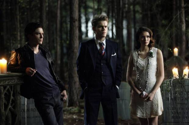 "THE VAMPIRE DIARIES ""Do Not Go Gentle"" Pictured (L-R): Ian Somerhalder as Damon, Paul Wesley as Stefan, and Nina Dobrev as Elena. Quantrell D. Colbert/The CW ©2012 THE CW NETWORK. ALL RIGHT RESERVED."