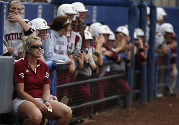 Tuttle head coach Jenn White watches a game during the 4A state softball semifinals game between Oolagah-Talala and Tuttle at ASA Hall of Fame Stadium in Oklahoma City, Okla., Friday, Oct. 12, 2012.  Photo by Garett Fisbeck, The Oklahoman