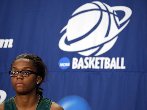 Brooklyn Pope speaks during the press conference and practice day at the Oklahoma City Regional for the NCAA women's college basketball tournament at Chesapeake Energy Arena in Oklahoma City, Saturday, March 30, 2013. Photo by Sarah Phipps, The Oklahoman