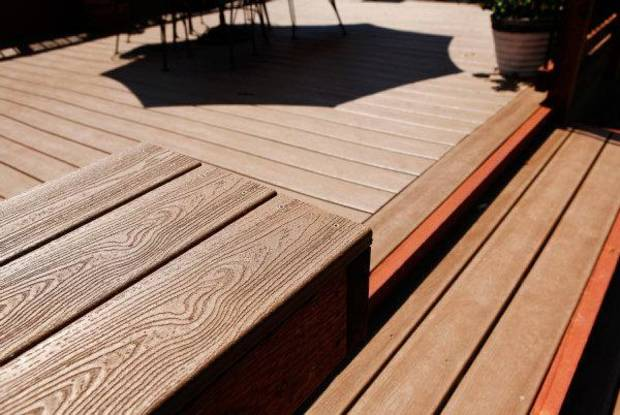 Environmentally friendly materials were used to build the deck at Chris Wright's home at 2329 NW 55. Photo by Jim Beckel, The Oklahoman <strong>JIM BECKEL</strong>
