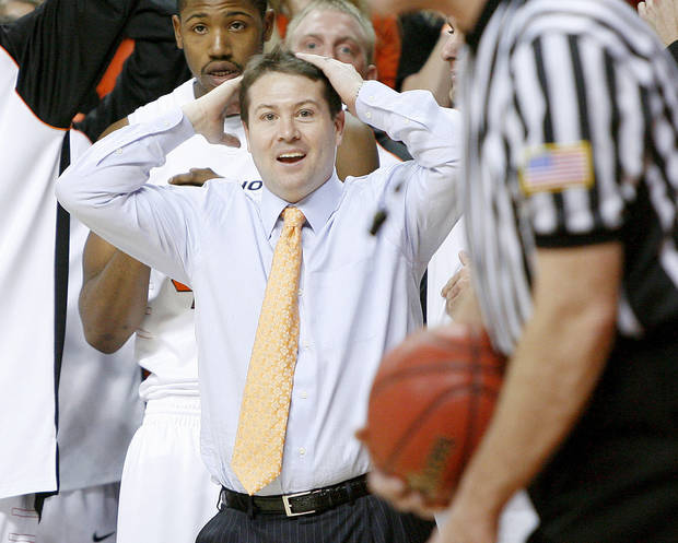 OSU coach Travis Ford reacts during the final seconds of the Big 12 college basketball game between Oklahoma State and Missouri at Gallagher-Iba Arena in Stillwater, Okla., Wednesday, Jan. 21, 2009.  PHOTO BY BRYAN TERRY, THE OKLAHOMAN