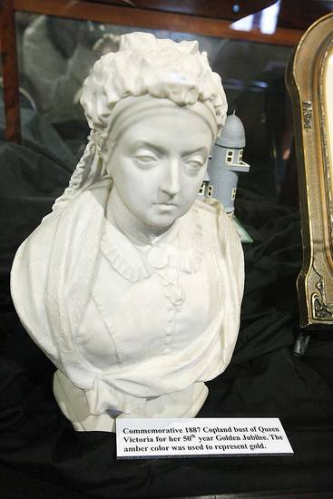 An 1887 commemorative bust of Queen Victoria that was used for her golden jubilee is on display.
