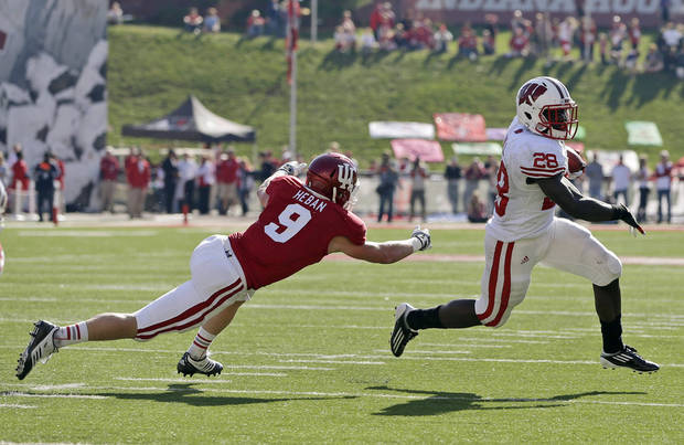 Wisconsin's Montee Ball, right, runs out of the reach of Indiana's Greg Heban during the first half of an NCAA college football game Saturday, Nov. 10, 2012, in Bloomington, Ind. (AP Photo/Darron Cummings)