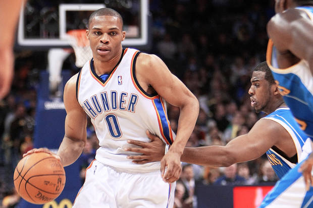 OKC's Russell Westbrook, above, and Hornets rookie Darren Collison were teammates at UCLA. PHOTO BY HUGH SCOTT, THE OKLAHOMAN