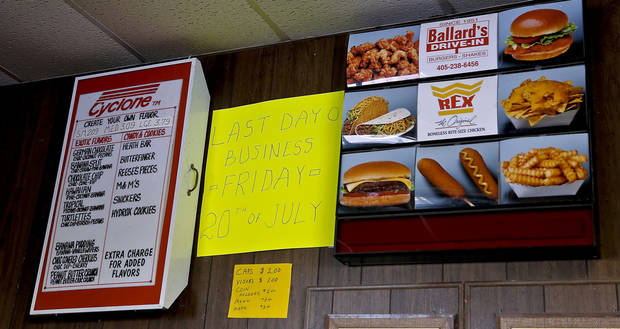 The last day of business sign is posted at Ballard's Drive-In located in Pauls Valley, Okla. on Monday, July 16, 2012. Ballard's will be closing its doors after 61years of operation.   Photo by Chris Landsberger, The Oklahoman