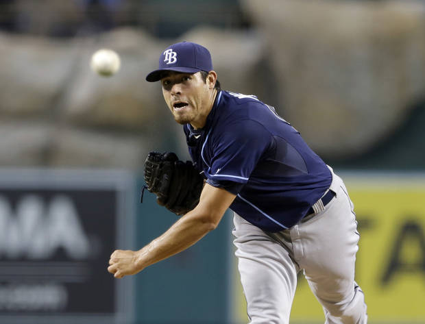 Tampa Bay Rays starter Matt Moore pitches to the Los Angeles Angels in the first inning of a baseball game in Anaheim, Calif., Tuesday, Sept. 3, 2013.  (AP Photo/Reed Saxon)
