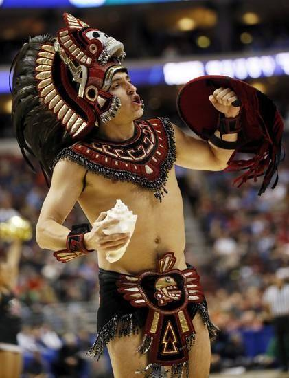 The San Diego State mascot during a game between the University of Oklahoma and San Diego State in the second round of the NCAA men's college basketball tournament at the Wells Fargo Center in Philadelphia, Friday, March 22, 2013. Photo by Nate Billings, The Oklahoman