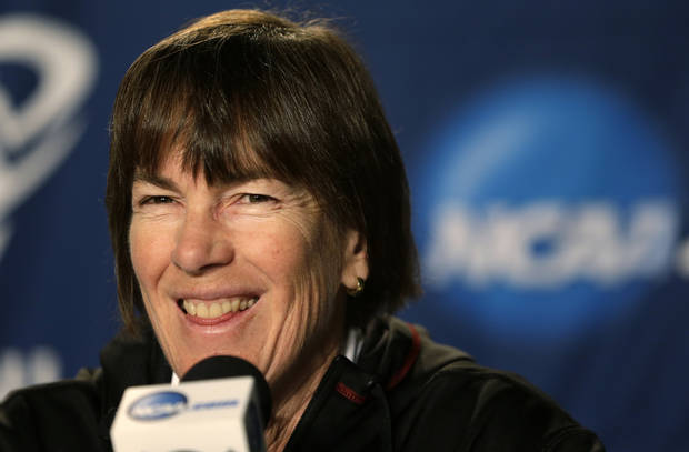Stanford head coach Tara VanDerveer smiles during a news conference before practice for a regional semifinal game in the women's NCAA college basketball tournament Friday, March 29, 2013, in Spokane, Wash. Stanford plays Georgia on Saturday. (AP Photo/Elaine Thompson)