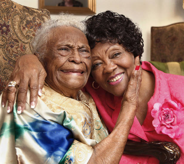Ruth Benford, 78, right, recently received her degree from the University of  Phoenix. She spends some of her time with her good friend, Ethel Wilcox, 96.  PHOTO BY JIM BECKEL, THE OKLAHOMAN