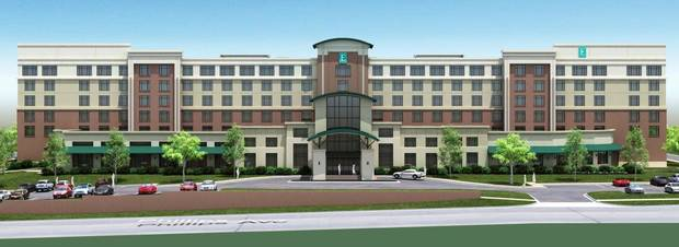 Plans for a $25 million, 194-room Embassy Suites hotel planned for NE 8 and Phillips Avenue are shown in this rendering. &lt;strong&gt;Provided&lt;/strong&gt;