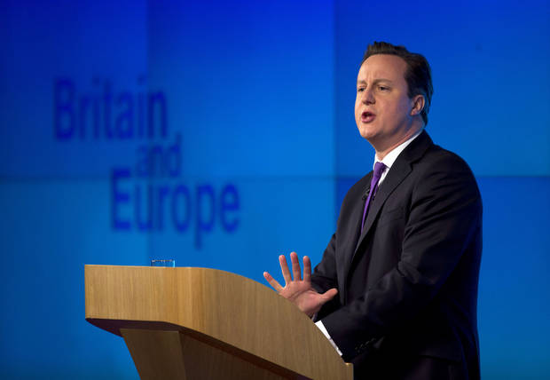"Britain's Prime Minister David Cameron makes a speech on having a referendum on staying in the European Union in London, Wednesday, Jan. 23, 2013.  Cameron said Wednesday he will offer British citizens a vote on whether to leave the European Union if his party wins the next election, a move which could trigger alarm among fellow member states.  He acknowledged that public disillusionment with the EU is ""at an all-time high,"" using a long-awaited speech in central London to say that the terms of Britain's membership in the bloc should be revised and the country's citizens should have a say.  (AP Photo/Matt Dunham)"