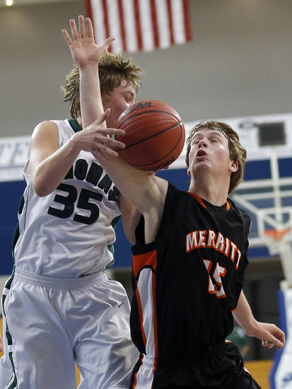 Merritt's Francis Potter and Thomas' Trent Dunaway fight for a rebound during the high school basketball state finals tournament game between Thomas and Merritt at Oklahoma City University in Oklahoma City, Thursday,  March 7, 2013. Photo by Sarah Phipps, The Oklahoman