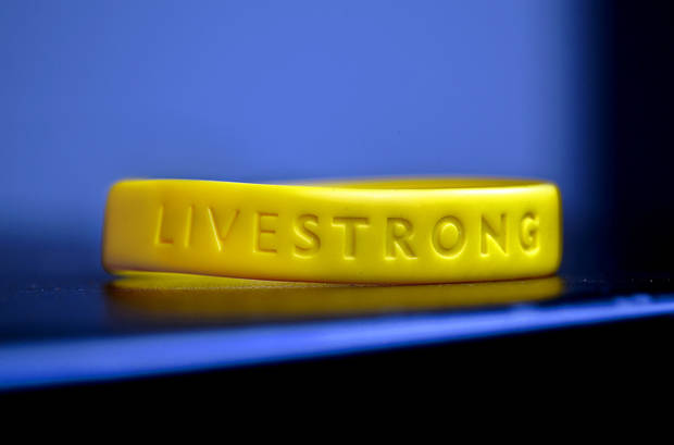 LIVESTRONG bracelet on Tuesday, Jan. 15, 2013, in Oklahoma City, Okla.   Photo by Chris Landsberger, The Oklahoman