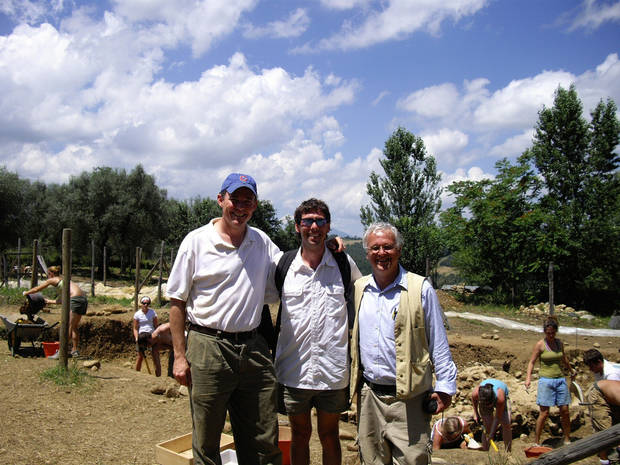 Ryan Leonard, Cody Barnett and Dr. David George in Coriglia, Italy. PHOTO PROVIDED <strong></strong>