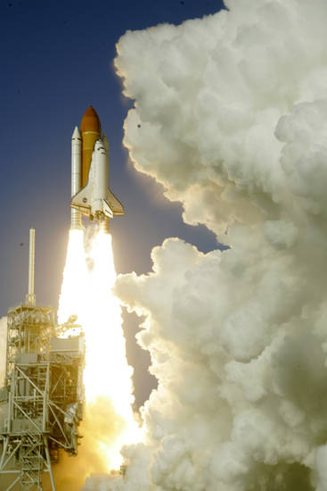 Space shuttle Discovery lifts off from Pad 39A at the Kennedy Space Center in Cape Canaveral, Fla., Thursday, Feb. 24, 2011. Discovery on its last mission to the International Space Station.(AP Photo/Terry Renna)
