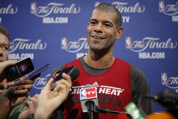 Miami's Shane Battier answers a question after a practice for Game 5 of the NBA Finals between the Oklahoma City Thunder and the Miami Heat at American Airlines Arena, Wednesday, June 20, 2012. Photo by Bryan Terry, The Oklahoman