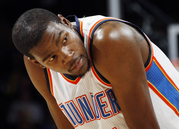 Oklahoma City's Kevin Durant (35) rests his hands on his knees in the second half during the NBA basketball game between the Oklahoma City Thunder and Portland Trail Blazers at Chesapeake Energy Arena in Oklahoma City, Tuesday, Jan. 3, 2012. Portland won, 103-93. Photo by Nate Billings, The Oklahoman