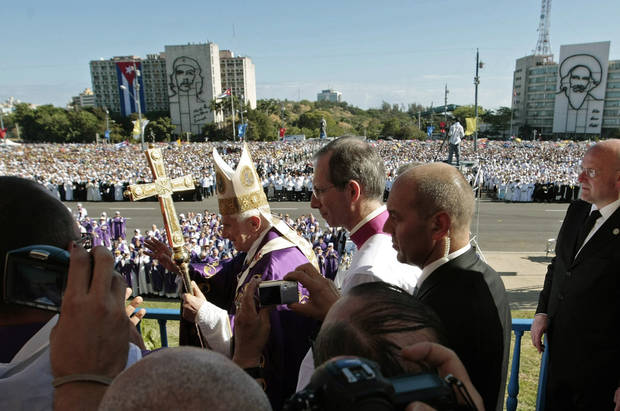 In this March 28, 2012 photo, Pope Benedict XVI waves to faithful as he arrives to lead a Mass at Revolution Square in Havana, Cuba. On Monday, Feb. 11 the Vatican announced that Pope Benedict XVI will resign on Feb. 28. <strong>Gregorio Borgia - AP</strong>