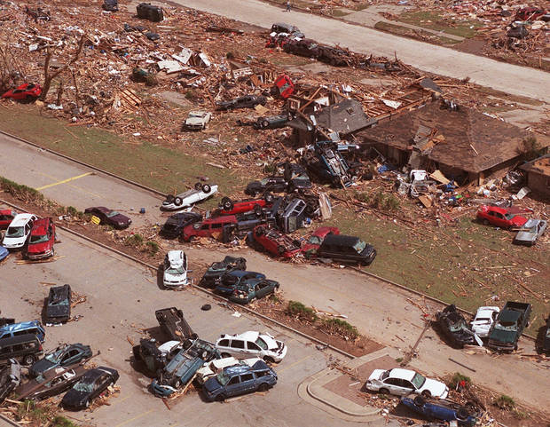 MAY 3, 1999 TORNADO: TORNADO DAMAGE: One of the hardest hit neighborhoods leveled in NW Moore. This was South of Westmoore High School.