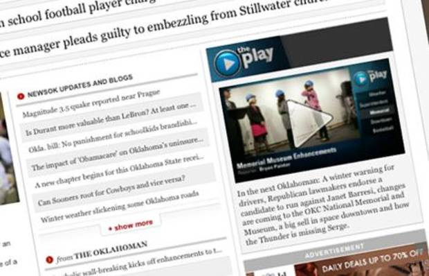 'The Play' appears at the top of the right side of the NewsOK home page every weekday evening.