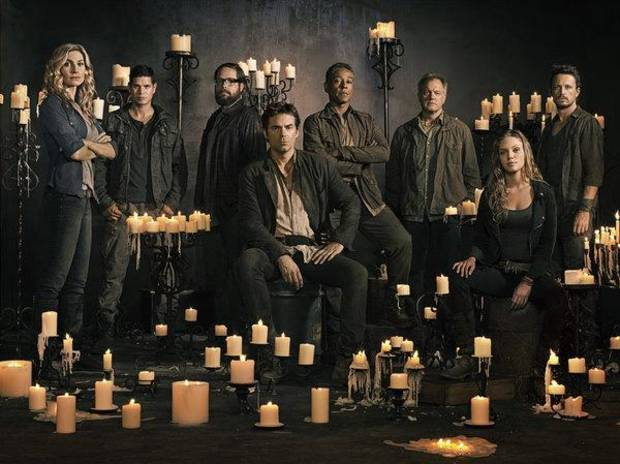 REVOLUTION -- Season: 2 -- Pictured: (l-r) Elizabeth Mitchell as Rachel Matheson, JD Pardo as Jason Neville, Zak Orth as Aaron Pittman, Billy Burke as Miles Matheson, Giancarlo Esposito as Major Tom Neville, Stephen Collins as Dr. Gene Porter, Tracy Spiridakos as Charlie Matheson, David Lyons as Gen. Sebastian Monroe -- (Photo by: Nino Munoz/NBC)