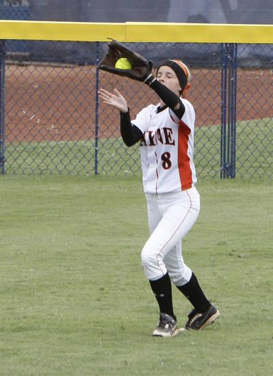 Wayne's Tiffany Lang catches a fly ball in center field during the class 2A Girl's State Softball playoffs at the ASA Hall of Fame Stadium in Oklahoma City, OK, Friday, October 5, 2012,  By Paul Hellstern, The Oklahoman