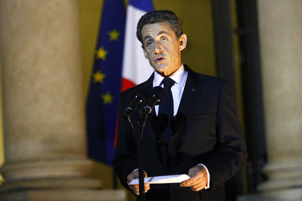 "French President Nicolas Sarkozy delivers a speech to the media at the Elysee Palace, in Paris, Tuesday, Nov. 1, 2011. Sarkozy said Tuesday the hard-fought European bailout plan for Greece is the ""only way possible"" to resolve that nation's debt crisis. (AP Photo/Thibault Camus) ORG XMIT: XTC103"