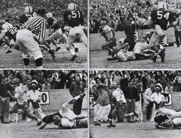 This sequence shows Notre Dame's touchdown from the 1957 game. Notre Dame�s Dick Lynch scored with 3:50 left in the game and the Irish won 7-0.  COURTESY OF UNIVERSITY OF OKLAHOMA SPORTS INFORMATION