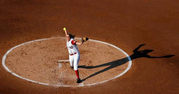 Alabama's Kelsi Dunne (00) pitches during the Women's College World Series game between Baylor and Alabama at the ASA Hall of Fame Stadium in Oklahoma City, Friday, June 3, 2011. Photo by Sarah Phipps, The Oklahoman