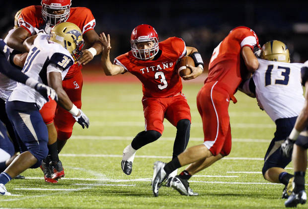 Carl Albert quarterback Steven Thompson (3) looks for room to run during a high school football game between Carl Albert and Southmoore in Midwest City, Okla., Friday, Aug. 31, 2012. Photo by Nate Billings, The Oklahoman