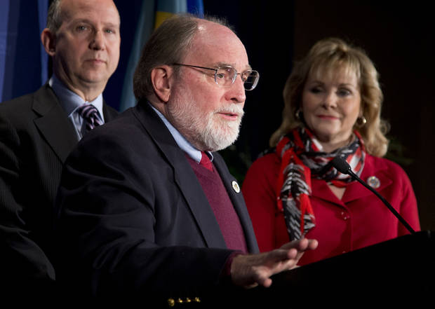 Hawaii Gov. Neil Abercrombie, center, seen with National Governors Association Chairman Gov. Jack Markell of Delaware, left, and Vice Chairman Gov. Mary Fallin of Oklahoma, speaks during the opening news conference of the NGA Winter Meeting in Washington, Saturday, Feb. 23, 2013. The nation's governors say their states are threatened if the automatic, across-the-board budget cuts, known as the sequester, take effect March 1.  (AP Photo/Manuel Balce Ceneta)