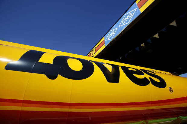 Love�s Travel Stops had its opening ceremony Monday for its first �fast fill� CNG facility for heavy-duty trucks at Interstate 40 and Morgan Road in Oklahoma City. Photos By Steve Gooch, The Oklahoman