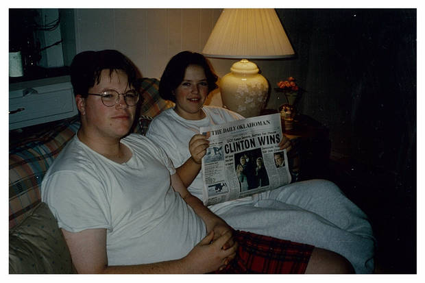 The siblings pose with the newspaper after Clinton's re-election in 1996. Tony LoPresto was 17; Miriam was 13. <strong> - Provided</strong>