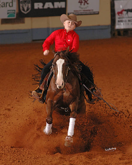 Cade McCutcheon, 12, of Aubrey, Texas, won $41,000 at the National Reining Horse Association Futurity on Thanksgiving Day. PHOTO PROVIDED