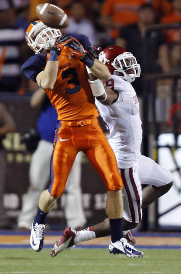 Oklahoma Sooners defensive back Gabe Lynn (9) breaks up a pass for UTEP's Jim Jones (3)  during the college football game between the University of Oklahoma Sooners (OU) and the University of Texas El Paso Miners (UTEP) at Sun Bowl Stadium on Saturday, Sept. 1, 2012, in El Paso, Tex.  Photo by Chris Landsberger, The Oklahoman