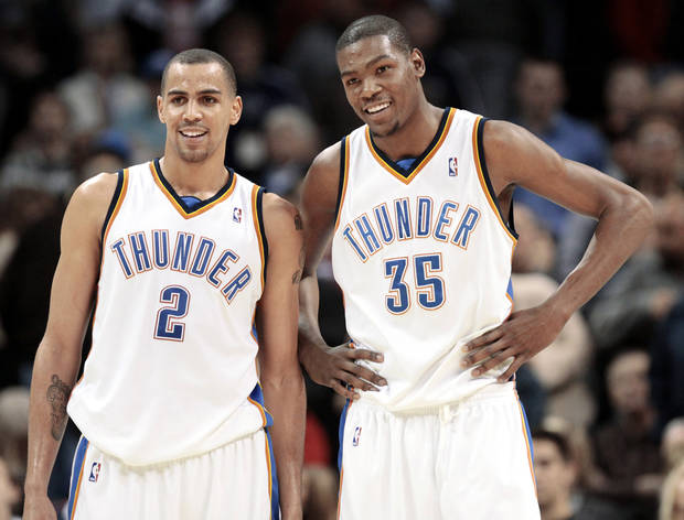 Most of the Thunder players are in their early to mid-20s, including 25-year-old Thabo Sefolosha, left, and 21-year-old Kevin Durant.  Photo by Doug Hoke, The Oklahoman