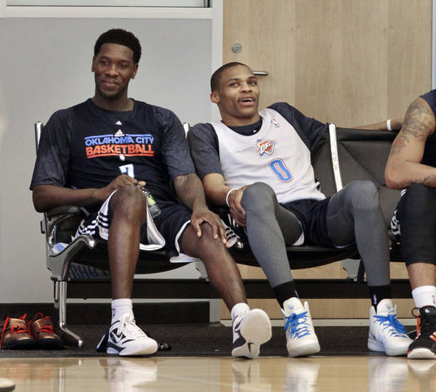 Royal Ivey, left, and Russell Westbrook sit together after practice at the Oklahoma City Thunder practice facility on Friday, April 27, 2012, in Oklahoma City, Okla.  Photo by Steve Sisney, The Oklahoman