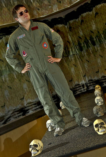 "Garett models Maverick costume from the movie ""Top Gun."" Photo by Chris Landsberger, The Oklahoman. <strong>CHRIS LANDSBERGER</strong>"